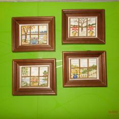PEISAJE  LA  FEREASTRA , patru goblenuri mici , inramate / tablouri cusute