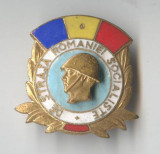 De STRAJA Romaniei SOCIALISTE - GRANICERI -  Insigna email 1970