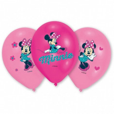 6 Baloane Minnie Mouse din latex imprimate color 28cm