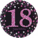 8 Farfurii Majorat 18 ani Sparkling Celebrations Pink Prismatic 23cm