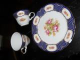 Set 2cesti+1farfurie,diam 19,5cm,desen floral/geometric cu cobalt/aur,Bavaria