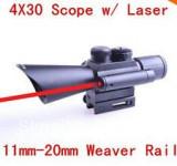 Luneta 4x30 cu laser rosu M7 LS4x30 sina Ris 11 sau 20 mm airsoft vanatoare