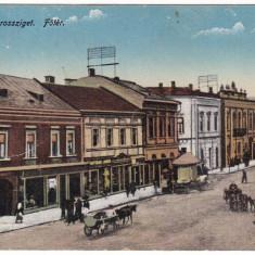 #2221- Romania, Maramarossziget, Sighetu Marm. c.p.1916 circ. 1940:  Centru, Circulata, Fotografie, Sighetu Marmatiei