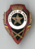 AERTILERIST DE FRUNTE - RPR - 1955 - Insigna MILITARA EMAIL LA CALD SUPERBA