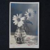 CARTA POSTALA NAZISTA TRIMISA IN ROMANIA - STAMPILA SVASTICA - FELDPOST - FLORI