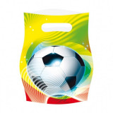 6 Pungi plastic Fotbal Soccer Party 16x23cm