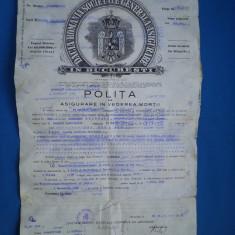 POLITA DE ASIGURARE IN VEDEREA MORTII/1932