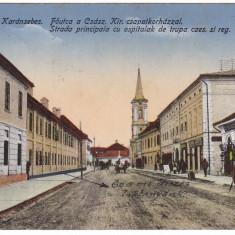 #2227- Romania, Karansebes,  c.p. circulata 1917: Strada Princip. spital, animat