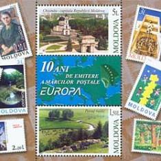 MOLDOVA 2003, 10 ani de la primele timbre EUROPA, serie neuzata, MNH, Nestampilat