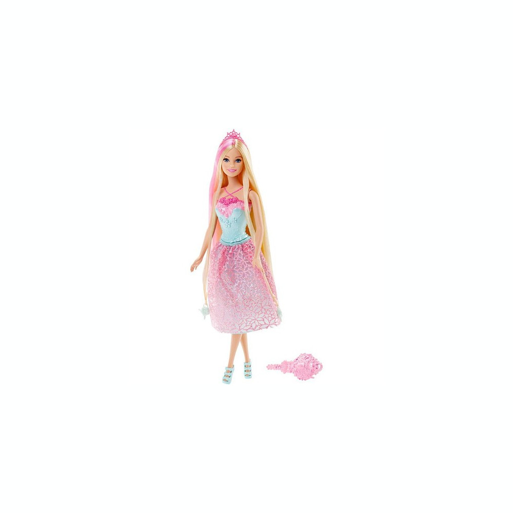 Papusa Barbie Cu Par Blond Si Perie Roz In Regatul Endless Hair