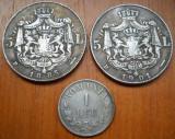 Lot trei monede rare , 1 leu 1876, 5 lei 1885, 5 lei 1901.  FALSURI, Acmonital