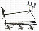 Kit Crap 3 Lansete Tele 3,6m CARBON 3 mulin KDL50 LONG CAST Si Rod Pod Full