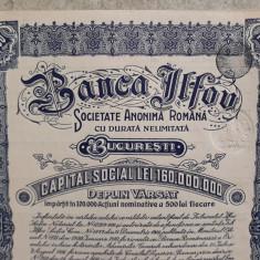 ACTIUNI  - BANCA ILFOV - 500 LEI - ACTIUNE LA PURTATOR  - 1937 - CUPOANE -TIMBRU