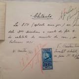 Chitanță 1931 și bon de plată eliberate de Șc. Centrală  București lecții canto