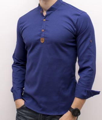 Camasa albastra tunica - camasa tunica camasa slim fit camasa ocazie cod 181 foto