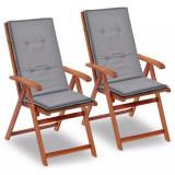 Perne scaun de grădină, 2 buc, gri, 120 x 50 x 3 cm