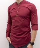 Cumpara ieftin Camasa grena asimetrica - camasa asimetrica camasa slim fit camasa ocazi cod 182, L, M, Maneca lunga