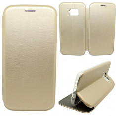 Husa Protectie Toc Flip Cover 360 Grade Samsung Galaxy S7 Edge, Auriu