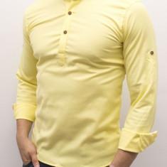 Camasa galbena tunica - camasa tunica camasa slim fit camasa ocazie cod 179, L, Maneca lunga, Din imagine