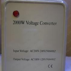 Convertor invertor transformator de tensiune 220V - 110V putere 2000W pt SUA NOU