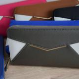 Portofel elegant de dama, diverse culori - Poze reale si TRANSPORT GRATUIT, Albastru, Gri, Maro, Negru, Roz