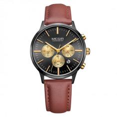 Ceas de dama Megir, rezistent la apa 3Bar, mecanism Quartz, curea din piele maro, afisaj analogic, calendar complet, cronometru, stil Fashion + cutie