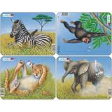 Set 4 Puzzle-uri Animale: Leu, Elefant, Maimuta, Zebra, 9 piese, LARSEN