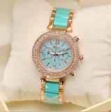 NOU Ceas de dama auriu verde elegant cu cadran strasuri si curea metalica GENEVA, Fashion, Quartz, Inox