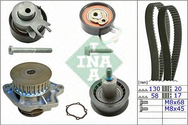 Set pompa apa + curea dintata VW POLO (6R, 6C) (2009 - 2016) INA 530 0538 30