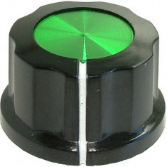 Buton pentru potentiometru, 27mm, plastic, negru-verde, 27x16mm - 127172