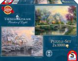 Puzzle 2 in 1 - Conac in amurg, 2000 piese, Schmidt