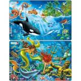 Set 2 Puzzle-uri Sirene, 15 piese, LARSEN