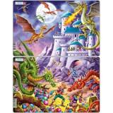 Set 2 Puzzle-uri Dragoni, 28 piese, LARSEN