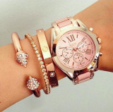 NOU Ceas de dama roz  metalic auriu elegant curea bratara metalica GENEVA, Fashion, Quartz, Metal necunoscut