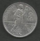 ROMANIA  2  LEI  1910   [4]  Argint 835 / 1000 ,  VF+ ,  livrare  in  cartonas