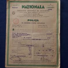 """Polita de asigurare """" Nationala """" - 1939 - Rara"""