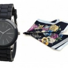 Set Black Orchid Ceas Cacharel si Esarfa Flowers