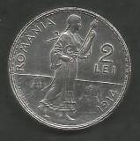 ROMANIA  2  LEI  1914   [1]  Argint 835 / 1000 ,  VF++  ,  livrare  in  cartonas