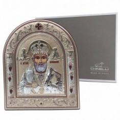 Icoana Sf. Nicolae placata cu aur si argint by Chinelli Made in Italy