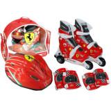 Role reglabile, protectii si casca Ferrari, Marime 28-31, Saica