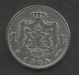 ROMANIA   1  LEU  1884  [1]  Argint  835 / 1000  ,   livrare  in  cartonas