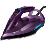 Fier de calcat Azur Advanced GC4934/30, 3000 W, talpa SteamGlide Plus, tehnologie OptimalTEMP, 55 g/min, detartrare rapida, mov, Philips