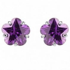 Cercei Borealy Sapphire Studs Flower Cut Purple