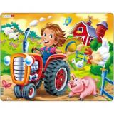 Puzzle Copil la Ferma pe Tractor, 15 Piese, LARSEN