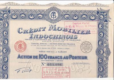 Credit Mobilier Indochinois - Saigon  actiune 100 franci 1930 INDOCHINA bancar foto