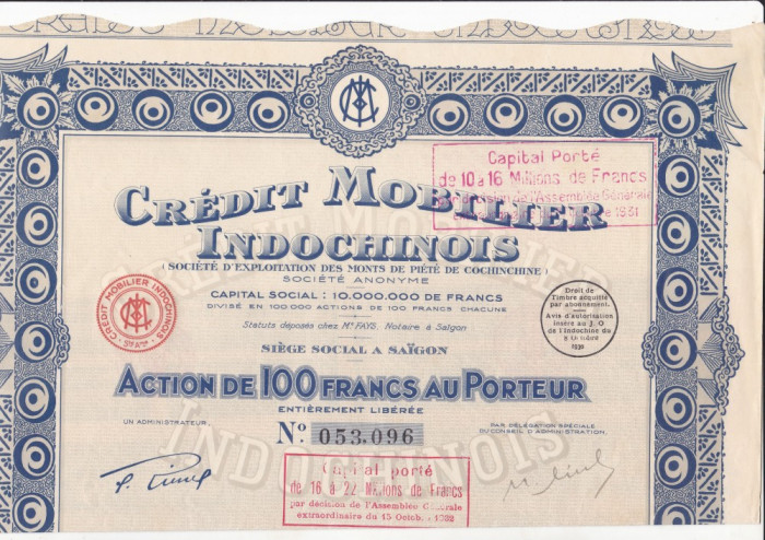 Credit Mobilier Indochinois - Saigon  actiune 100 franci 1930 INDOCHINA bancar