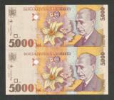 ROMANIA 5000 5.000 LEI  1998  UNC [0] Filigran BNR MIC - DREPT Serii Consecutive
