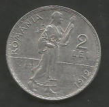ROMANIA  2  LEI  1912   [2]  Argint 835 / 1000 ,  XF++  ,  livrare  in  cartonas