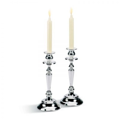 Silver Round Two Candlesticks by Chinelli made in Italy