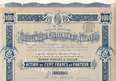 Houilleres de Cistierna & d'Argovejo actiune 100 franci 1905 Franta minerit foto